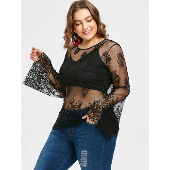 Plus Size Lace Blouse with Cropped Tank - BLACK 1X
