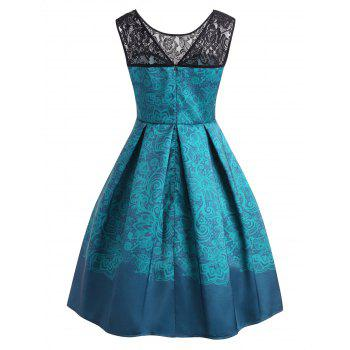 High Waisted Print A Line Dress - BLUE IVY M