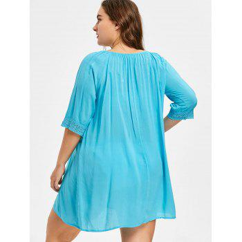 Sheer Cut Out Crochet Panel Plus Size Cover Up - DAY SKY BLUE ONE SIZE