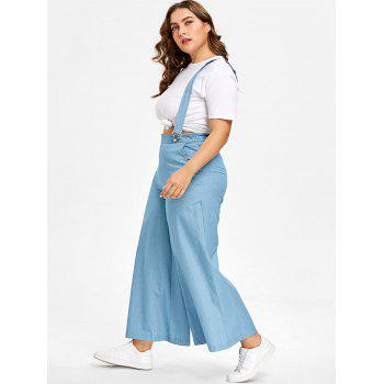 Plus Size Chambray High Waisted Suspender Pants - LIGHT BLUE L