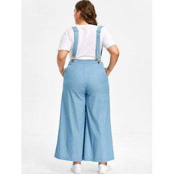 Plus Size Chambray High Waisted Suspender Pants - LIGHT BLUE 2X