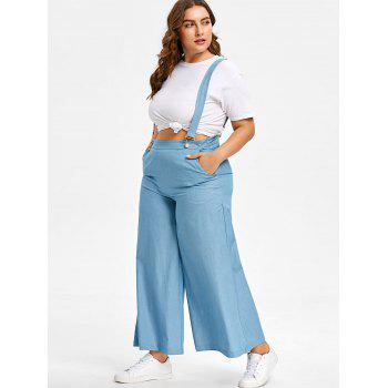 Plus Size Chambray High Waisted Suspender Pants - LIGHT BLUE 4X