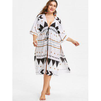 Drawstring Waist Plus Size Printed Cover Up - WHITE ONE SIZE