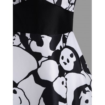 Panda Print Sweetheart Neck Vintage Dress - WHITE S