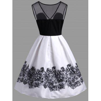 A Line High Waisted Vintage Dress - WHITE S