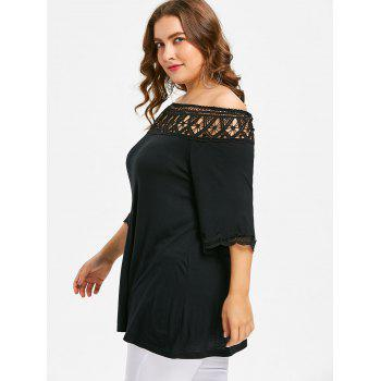Crochet Lace Plus Size Tunic T-shirt - BLACK 4XL