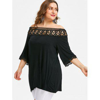 Crochet Lace Plus Size Tunic T-shirt - BLACK 5XL