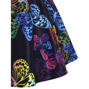 Boat Neck Butterfly Pattern Vintage Dress - multicolor A 2XL