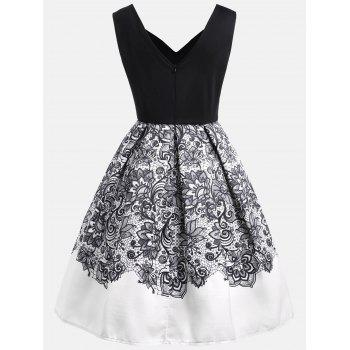 Vintage Flower Print A Line Dress - BLACK M