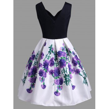 A Line Vintage Floral Sleeveless Dress - TYRIAN PURPLE M