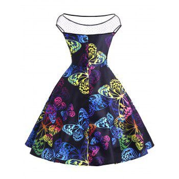 Boat Neck Butterfly Pattern Vintage Dress -