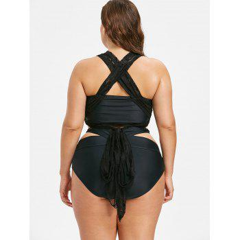 High Waist Lace Plus Size Bikini Set - BLACK 5X