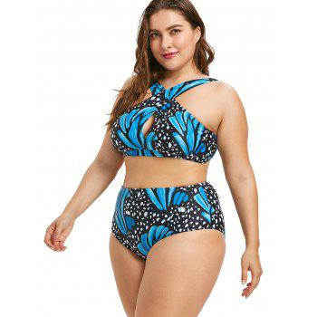 Plus Size High Waisted Butterfly Bikini Set - BLUE 4X