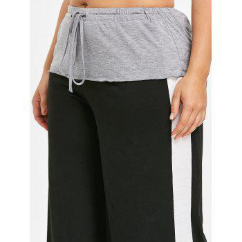 High Waist Plus Size Wide Leg Pants - BLACK 2X