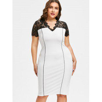 2018 Plus Size Lace Panel Knee Length Work Dress Milk White Xl In