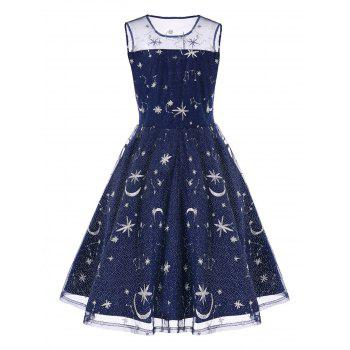 Vintage Mesh Panel Moon Stars Embroidered Flare Dress - BLUE L