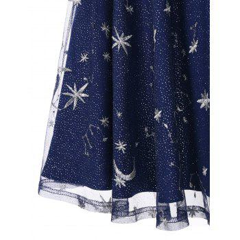 Vintage Mesh Panel Moon Stars Embroidered Flare Dress - BLUE 2XL