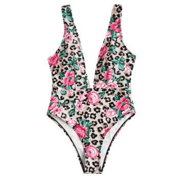 High Cut Plunging Neck Floral Swimwear - LEOPARD L