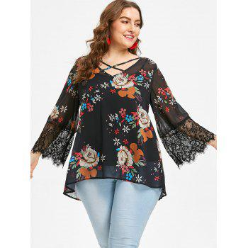 Plus Size Flower Chiffon Blouse and Slip Top - BLACK 1X