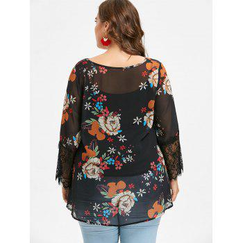 Plus Size Flower Chiffon Blouse and Slip Top - BLACK 4X