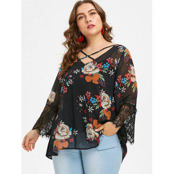 Plus Size Flower Chiffon Blouse and Slip Top - BLACK 5X