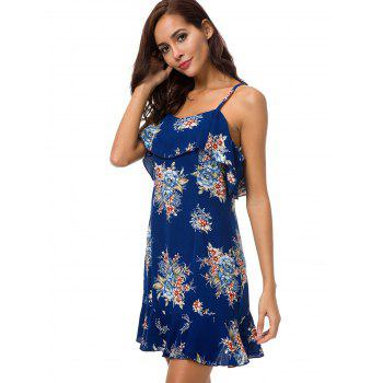 Open Back Flounce Trim Floral Dress - DEEP BLUE L