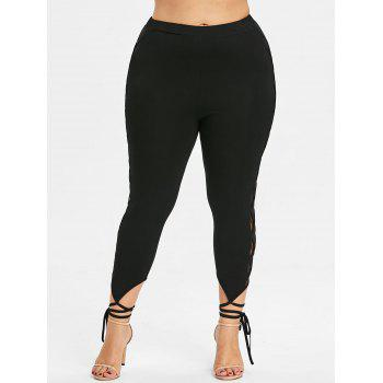 Plus Size Lace Panel Tie Cuff Leggings - BLACK 2XL