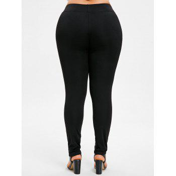 Plus Size Printed Fitted Pants - GRAY 4X