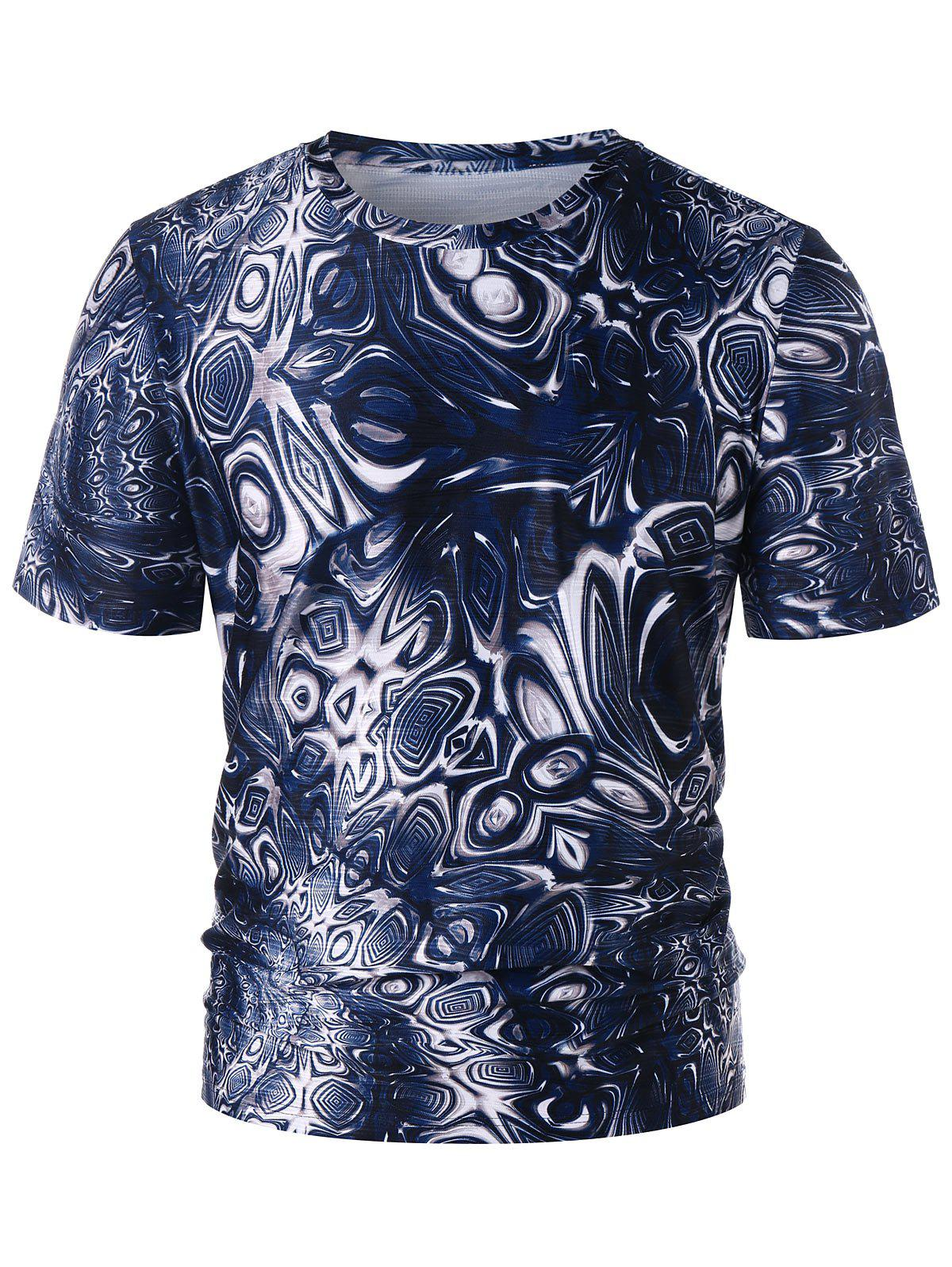 Trippy Pattern Crew Neck T-shirt - DEEP BLUE L
