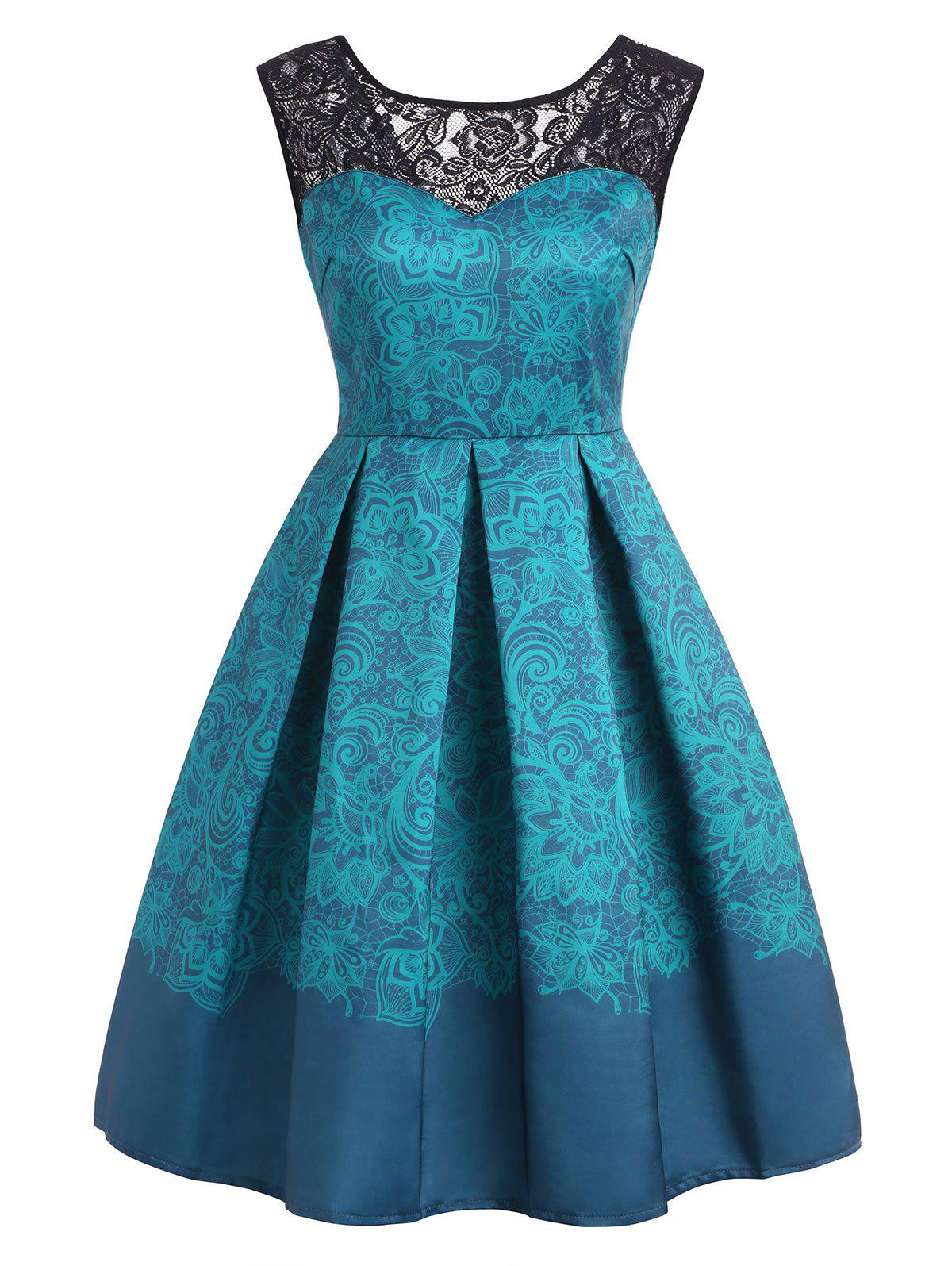 High Waisted Print A Line Dress - BLUE IVY S