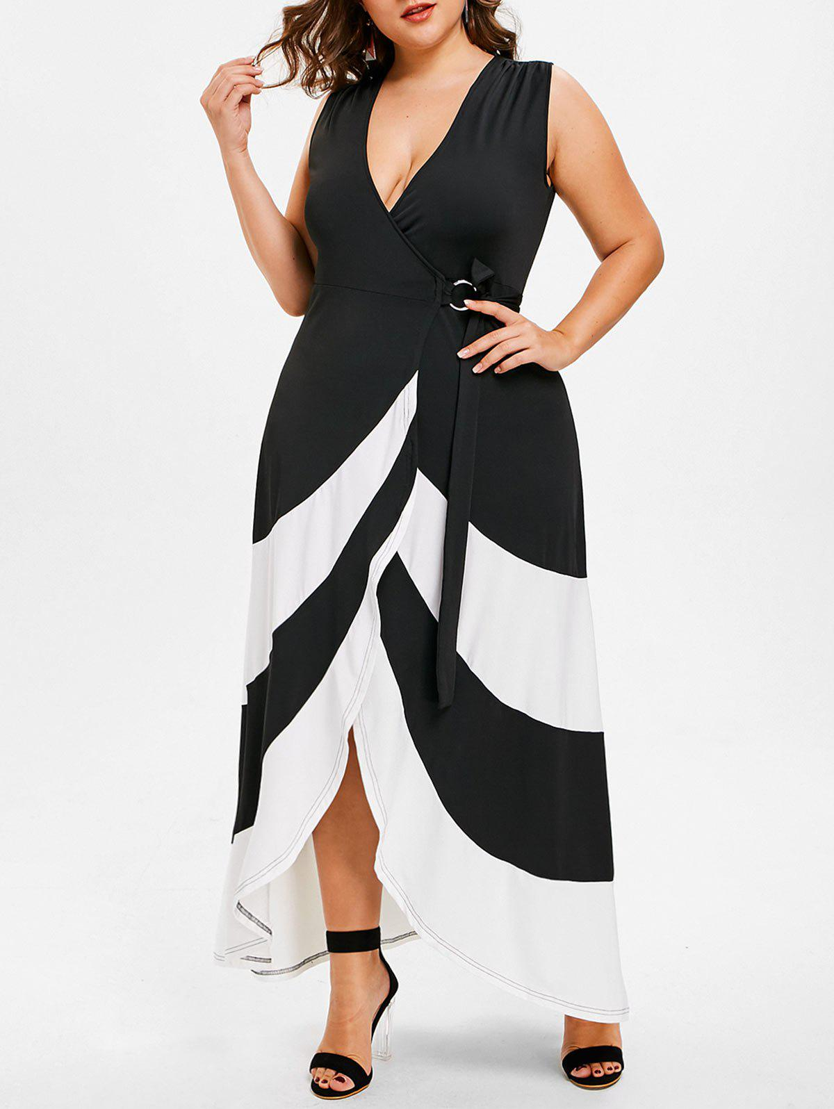 Plus Size Maxi Tulip Wrap Dress - BLACK 5X
