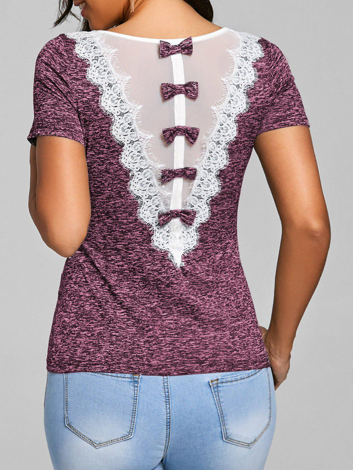 Bowknot Embellished Lace Trim Ringer T-shirt - PINK 2XL