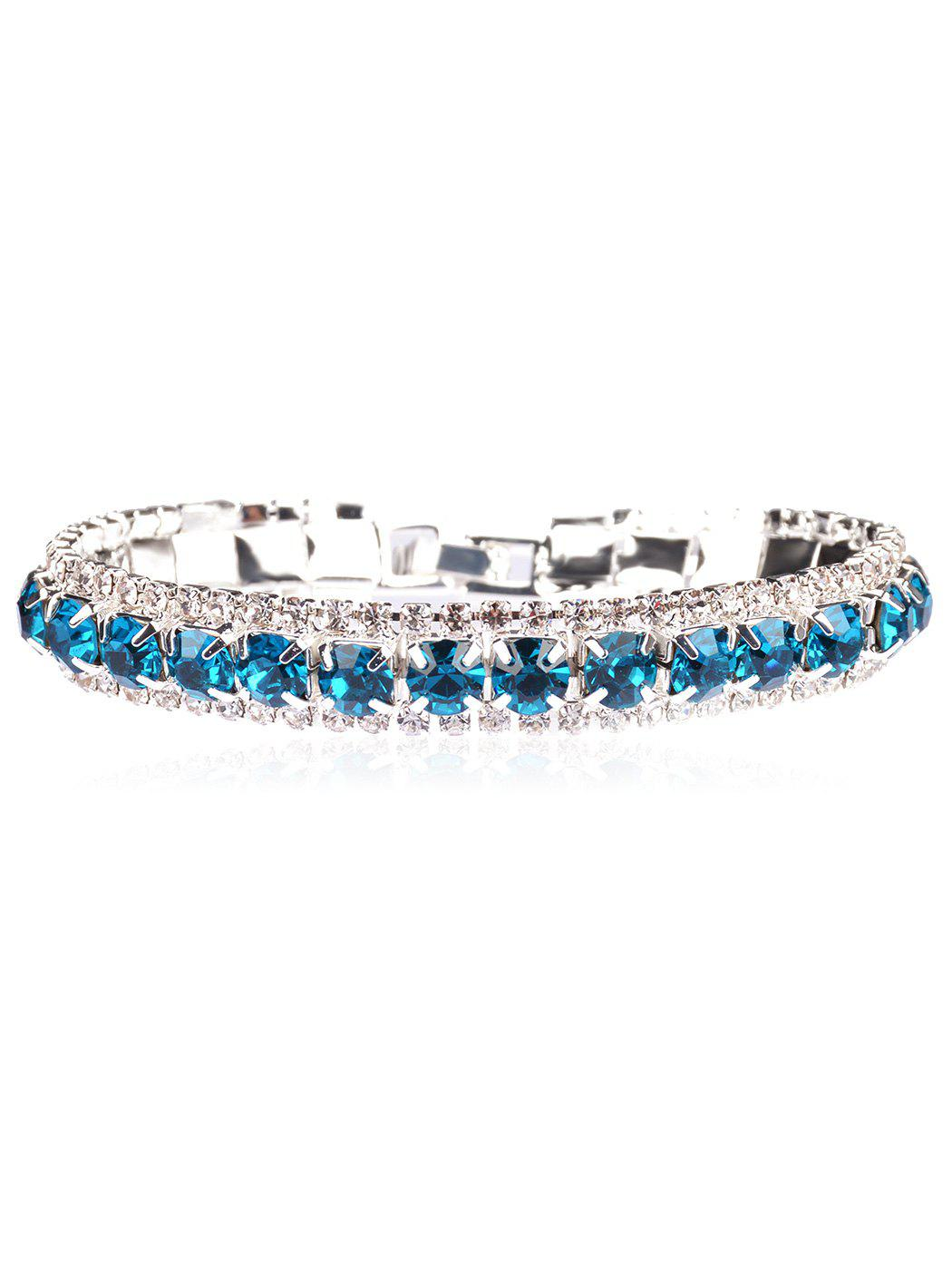 Sparkly Rhinestoned Alloy Link Chain Bracelet - WINDOWS BLUE