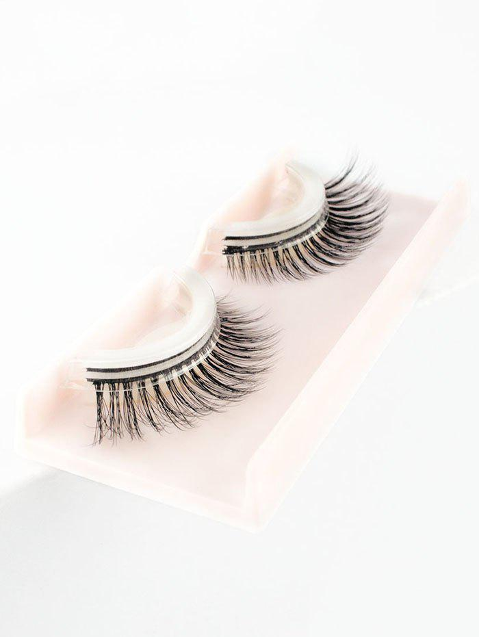 Pair of Handmade Reusable Natural Look Black Long False Eyelashes -