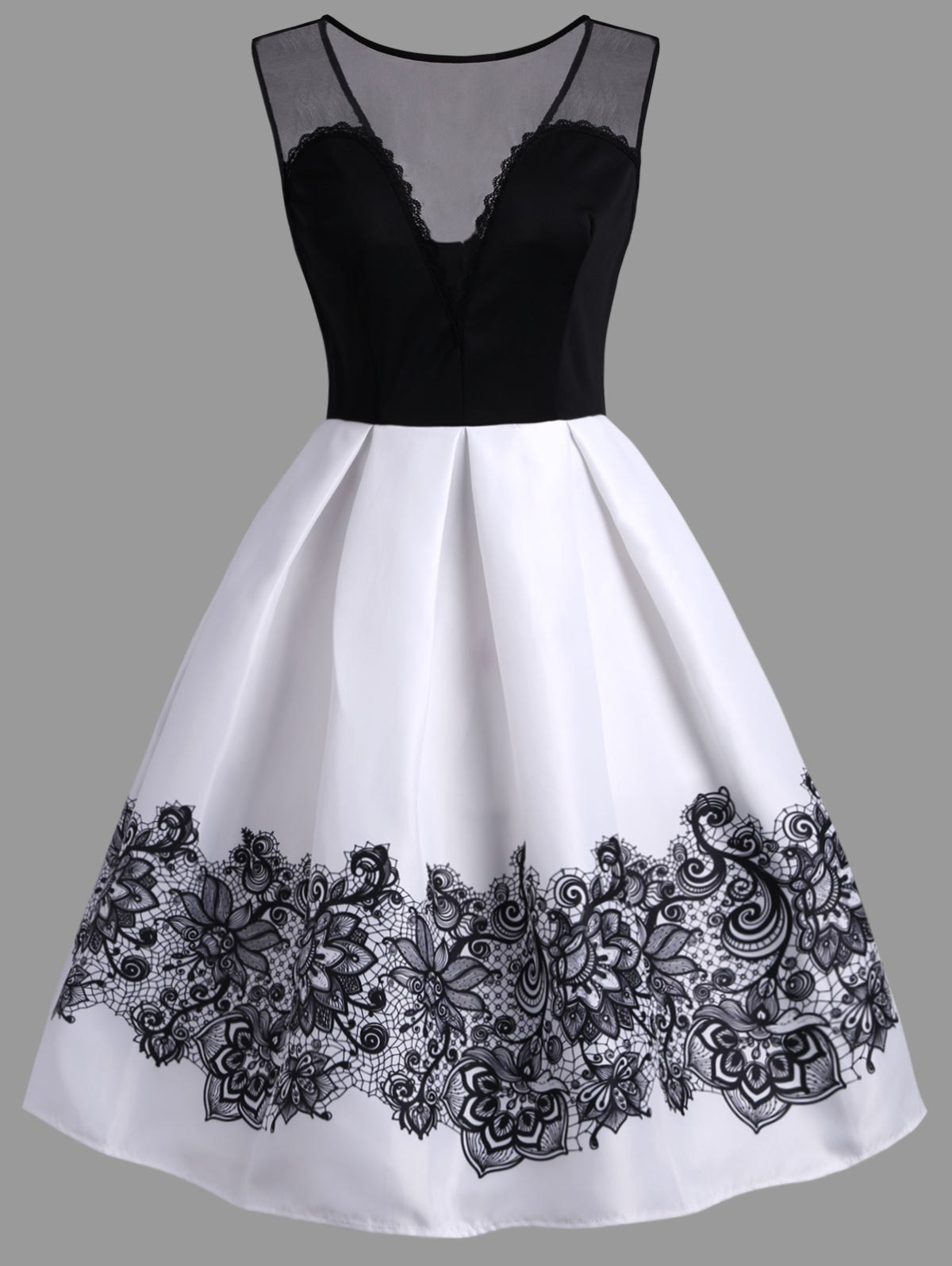 A Line High Waisted Vintage Dress - WHITE L