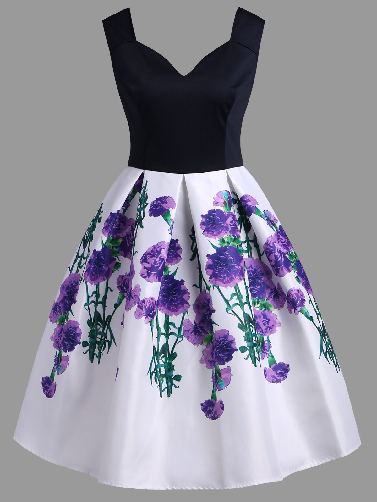 A Line Vintage Floral Sleeveless Dress - TYRIAN PURPLE XL