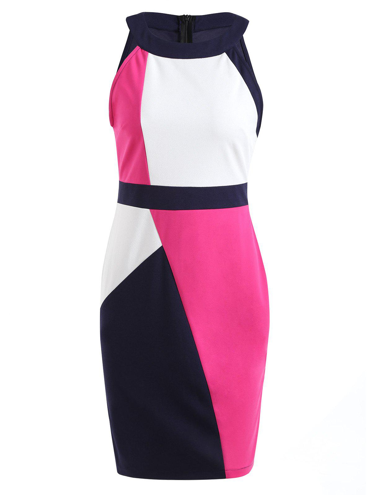 Color Block Sleeveless Sheath Dress - multicolor A L