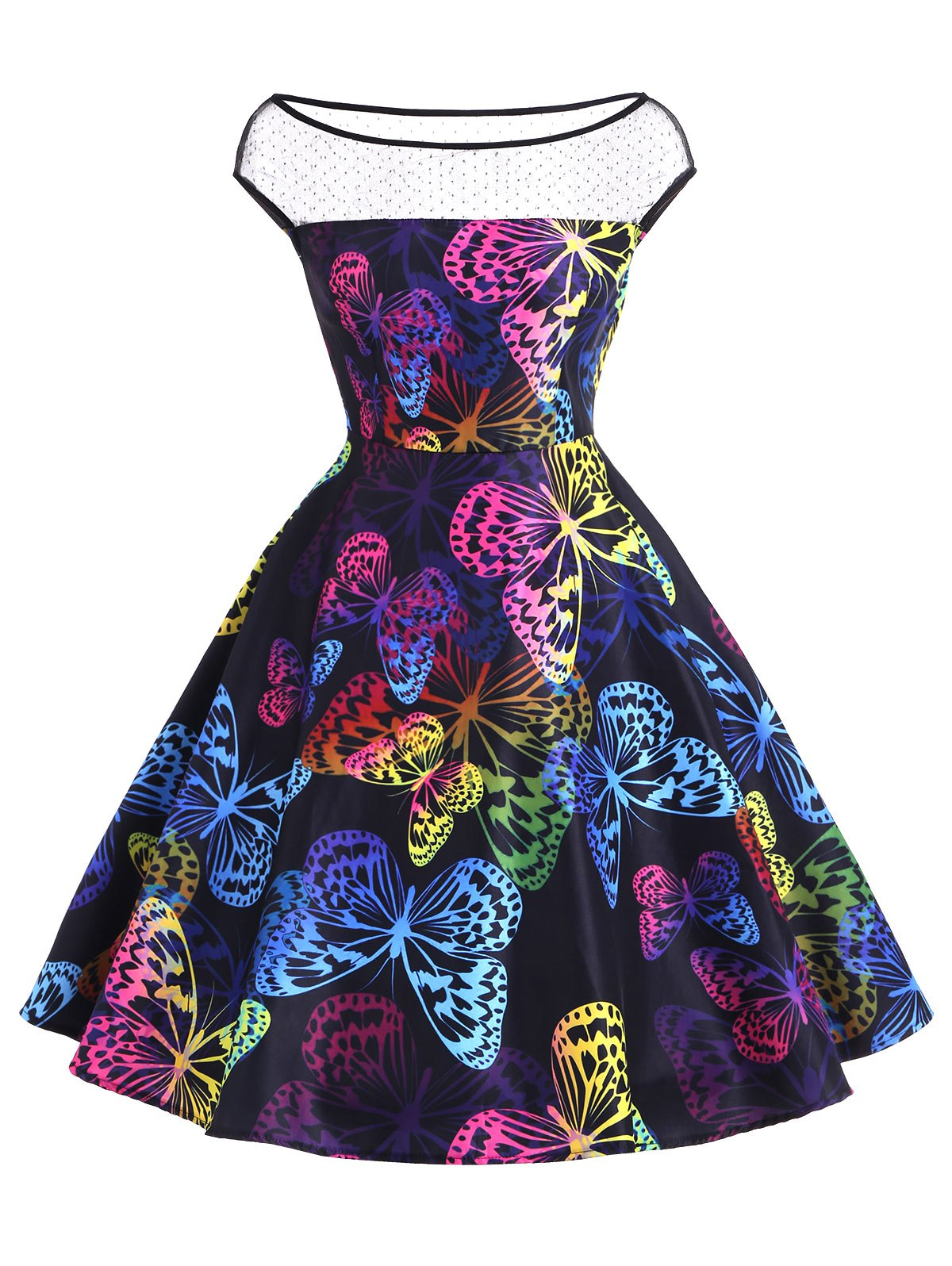 Boat Neck Butterfly Pattern Vintage Dress - multicolor A S