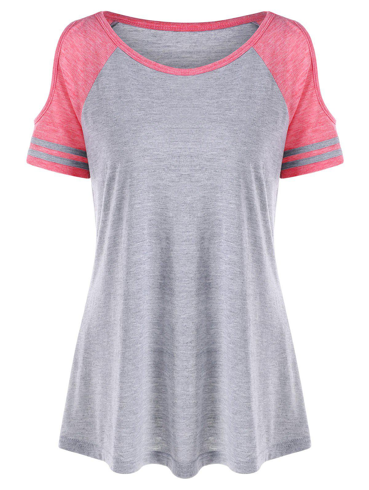 Cold Shoulder Two Tone T-shirt - COLORMIX 2XL