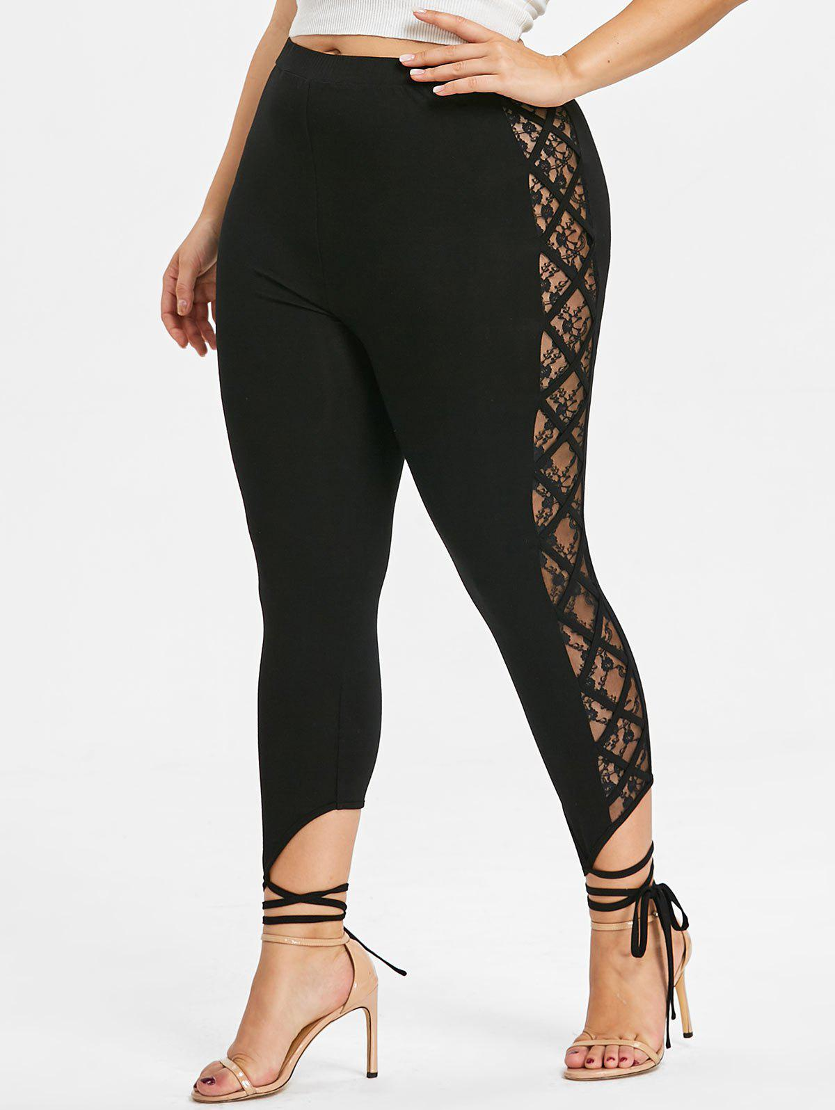 Plus Size Lace Panel Tie Cuff Leggings - BLACK 3XL