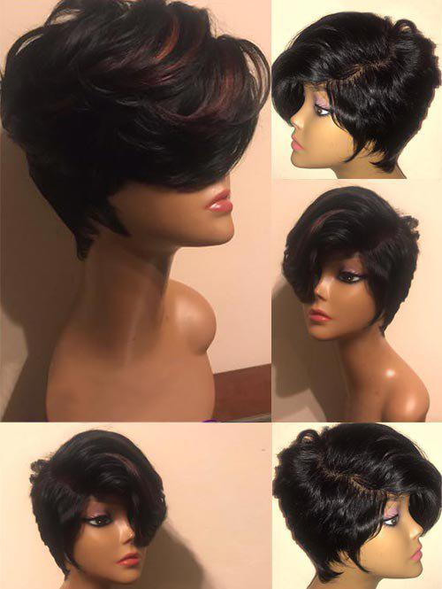 Short Side Bang Highlight Straight Synthetic Wig - BLOOD RED