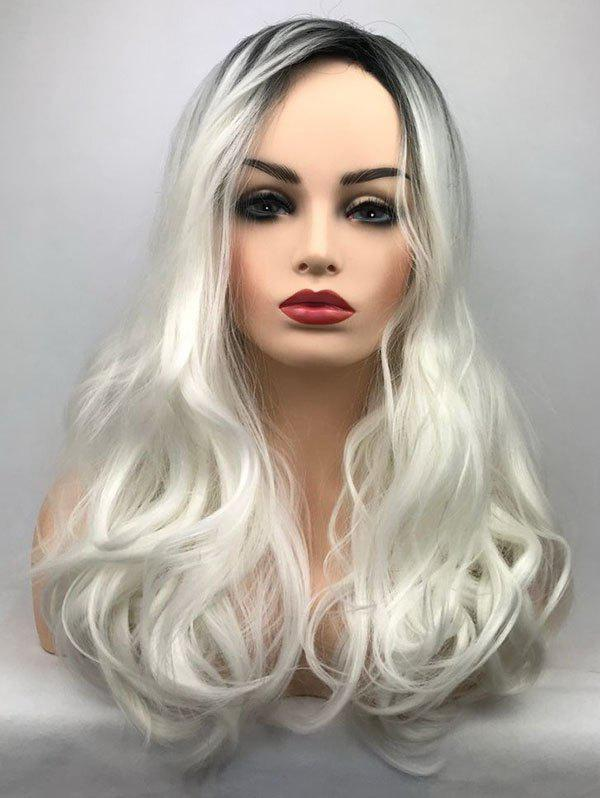 Long Side Bang Wavy Colormix Party Synthetic Wig - WHITE