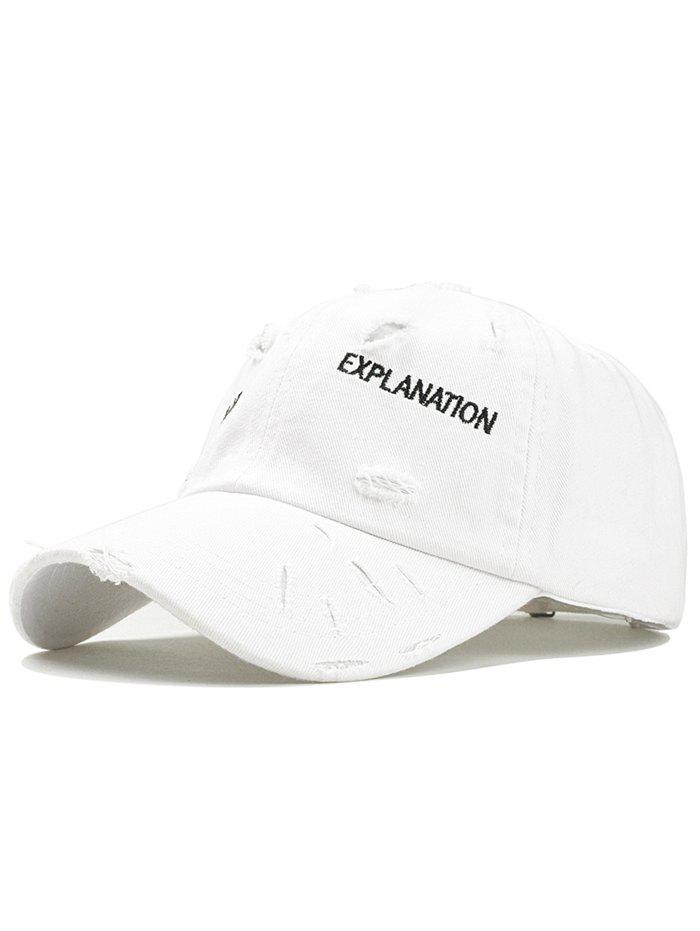 Letter Embroidery Ragged Trucker Hat - WHITE