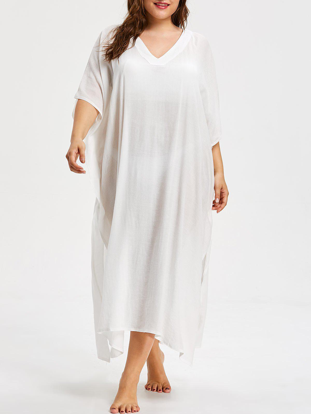 Plus Size Back V Maxi Cover Up Dress - WHITE ONE SIZE