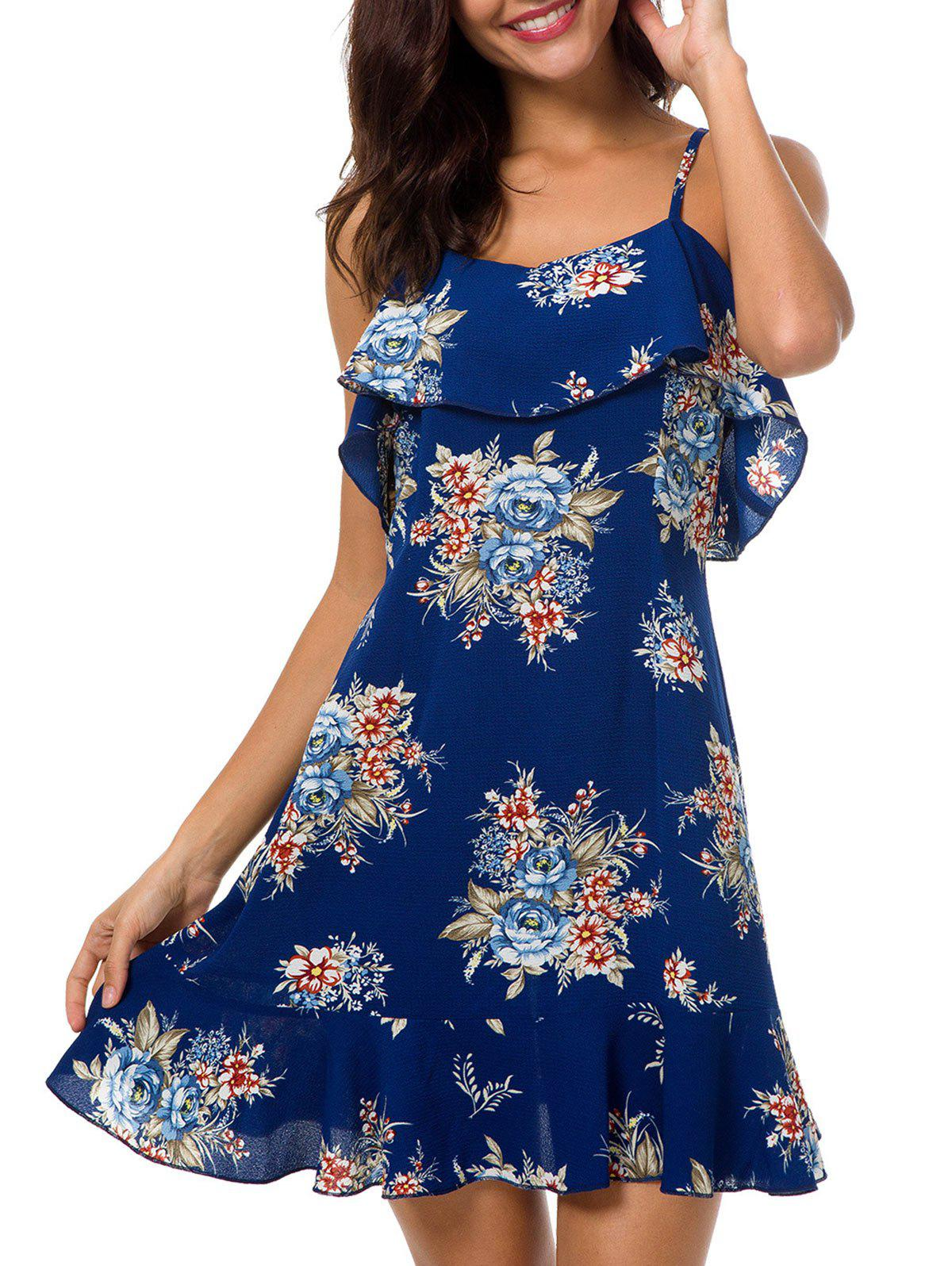 Open Back Flounce Trim Floral Dress - DEEP BLUE S