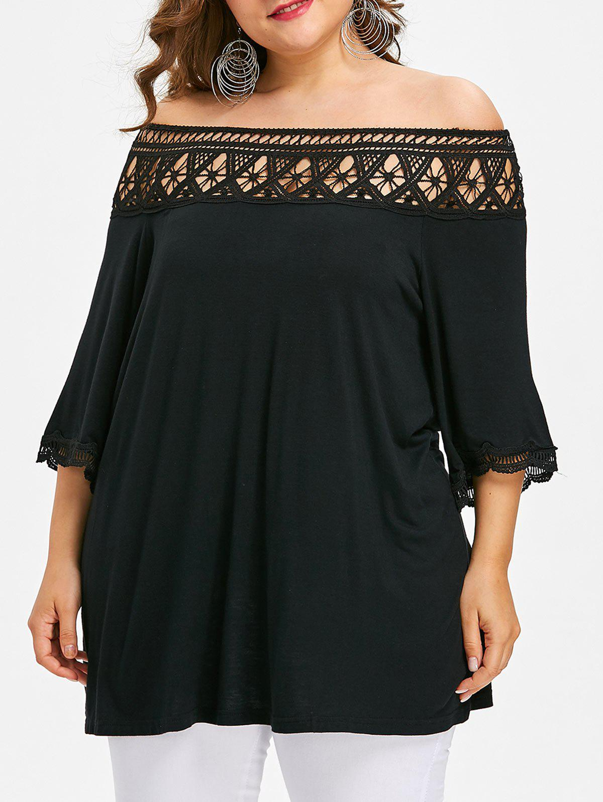 Crochet Lace Plus Size Tunic T-shirt - BLACK L