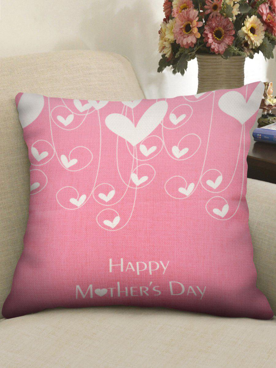2018 Mother\'s Day Gift Hearts Print Throw Pillow Case LIGHT PINK W ...