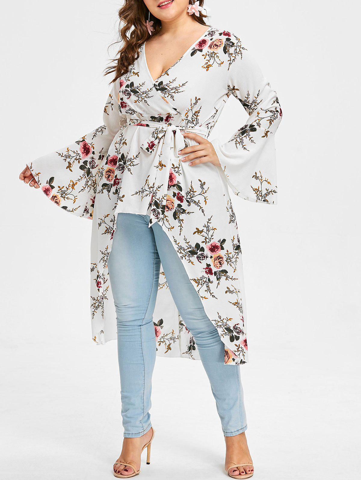 Plus Size Surplice Flower Print Blouse - WHITE 4X