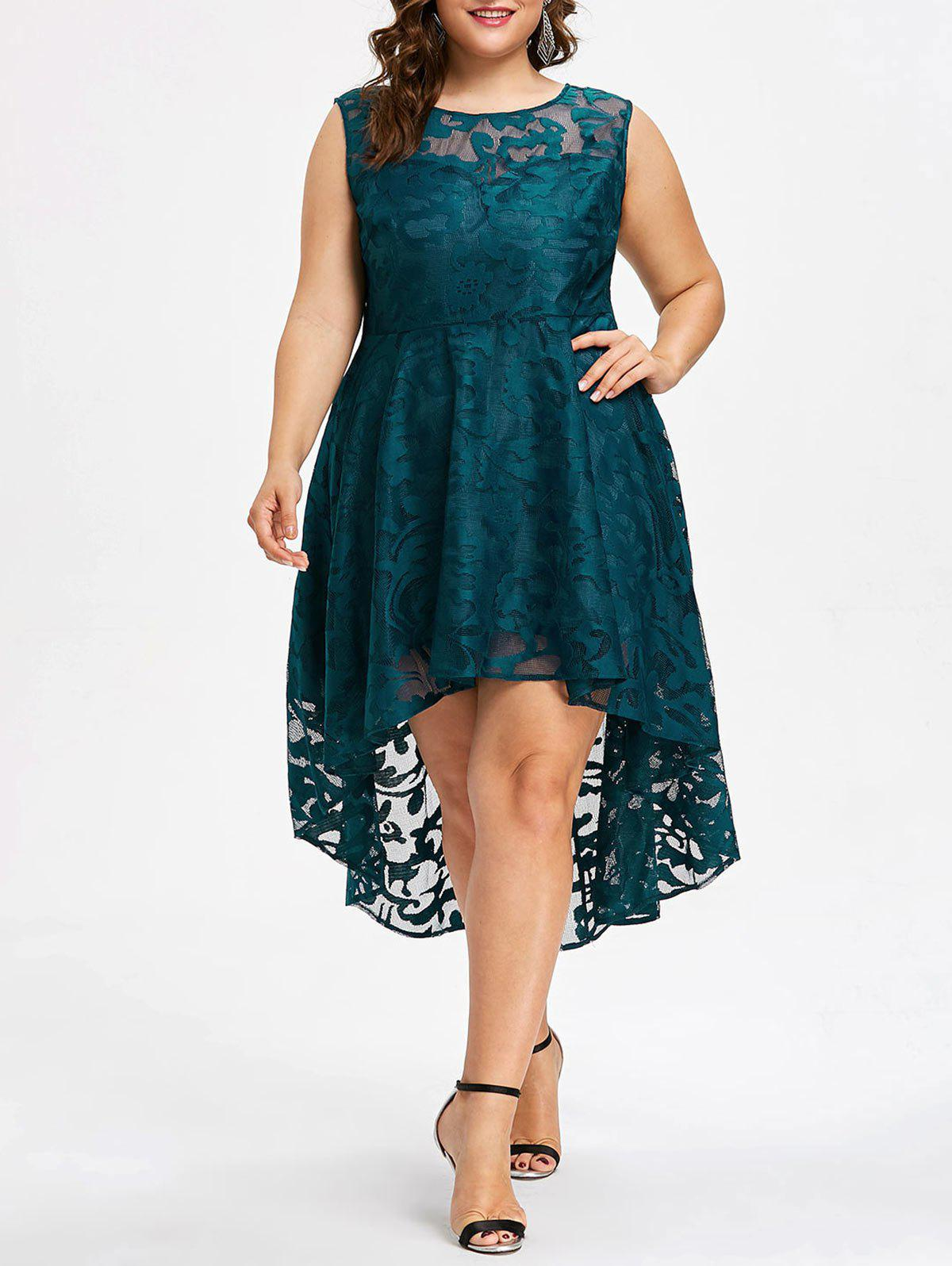 Plus Size Sleeveless Lace Party Dress - GLACIAL BLUE ICE 1X