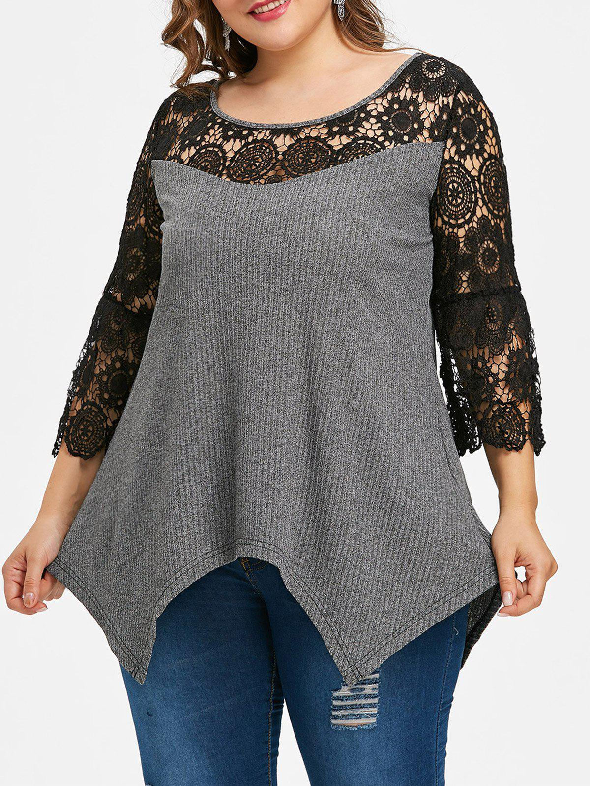 Plus Size Cutwork Lace Trim Ribbed T-shirt 1 102398 8[headers